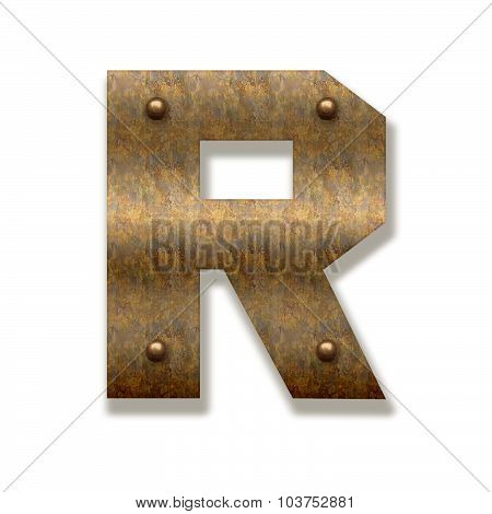 Rusty Metal Letter R. Alphabet Isolated On White Background