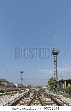 Railway Cross Way With Blue Sky