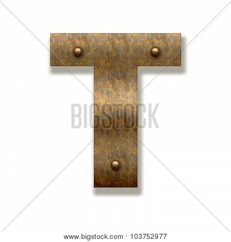 Rusty Metal Letter T. Alphabet Isolated On White Background