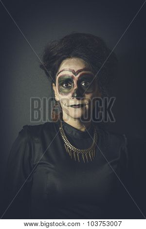 Portrait Of Woman In Disguise For Halloween