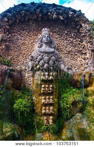 Ancient statue at d'Estre Villa in Tivoli, Italy