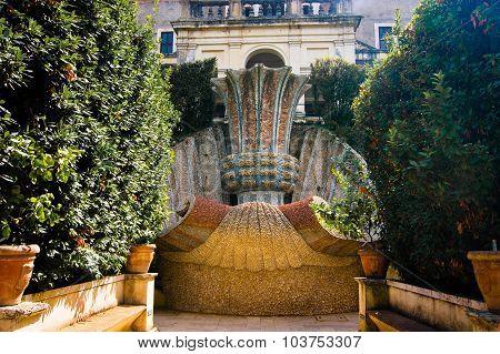 Anicient fountain in Villa d'Este of Tivoli, Italy