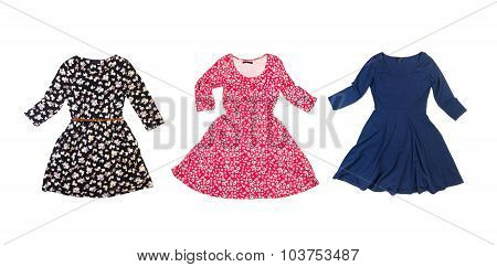 Set of cute colorful dresses