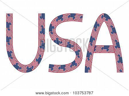 Usa Inscription Made From Usa Flags