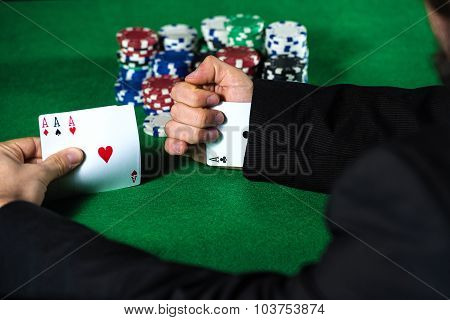 Man With Ace Up His Sleeve, Cheating At Poker.