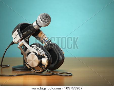 Microphone and headphones. Audio recording or radio commentator concept. 3d