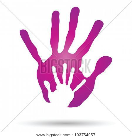 Concept or conceptual human or mother and child hand prints painted, isolated on white background