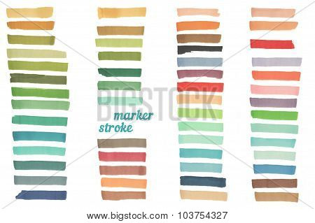 Color stripes drawn with japan markers. Stylish elements for design. Vector marker stroke