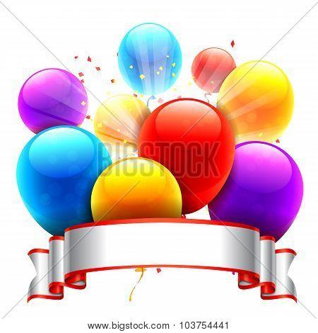 Color Balloons and Ribbon