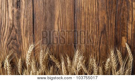 wheat on wooden background. top view. Header for website