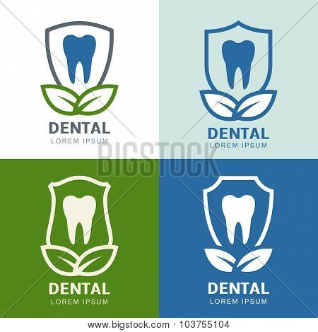 Set Of Vector Logo Icons Design. Tooth, Shield And Green Leaves Illustration.