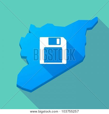 Long Shadow Syria Map With A Floppy Disk