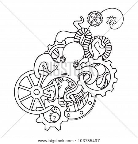 The original illustration of Steampunk octopus with gears and mechanisms.