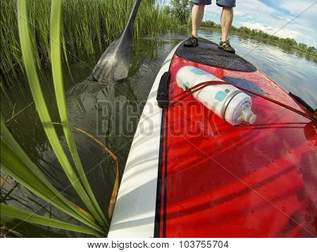 stand up paddling detail, a distorted wide angle view of a paddleboard near lake shore
