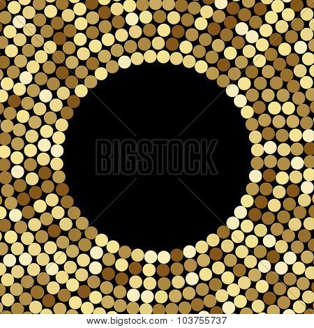 Gold Mosaic Background, on black. Abstract Illustration.