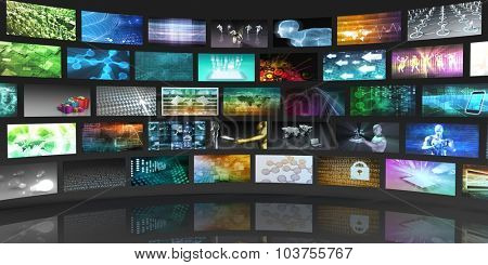 Technology Network System Connection for Entertainment Concept