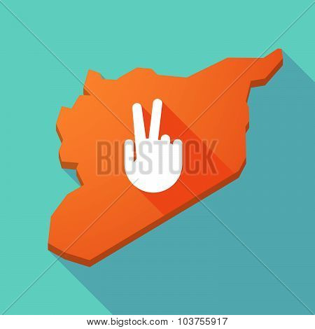 Long Shadow Syria Map With A Victory Hand