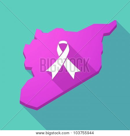Long Shadow Syria Map With An Awareness Ribbon