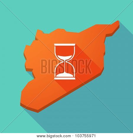 Long Shadow Syria Map With A Sand Clock