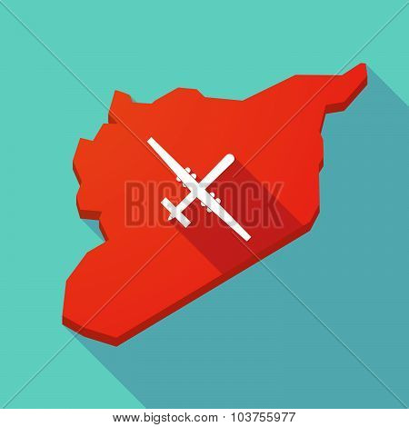 Long Shadow Syria Map With A War Drone