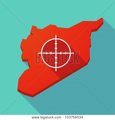 Long Shadow Syria Map With A Crosshair