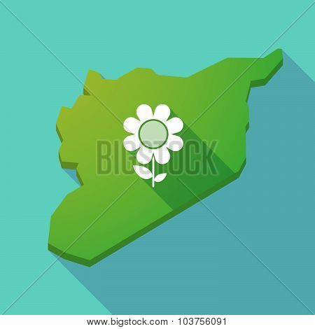 Long Shadow Syria Map With A Flower