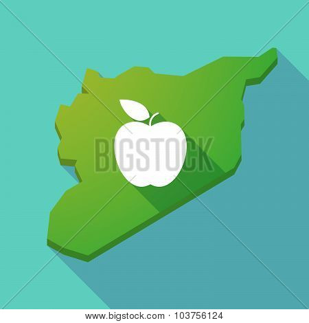 Long Shadow Syria Map With An Apple