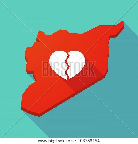 Long Shadow Syria Map With A Broken Heart