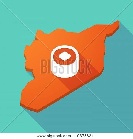 Long Shadow Syria Map With A Piece Of Sushi
