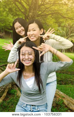 Asian girls in cute expression