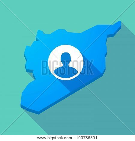 Long Shadow Syria Map With A Male Avatar