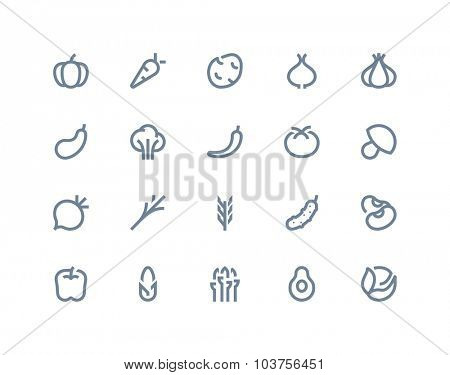 Vegetables icons. Line series