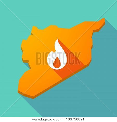 Long Shadow Syria Map With A Flame