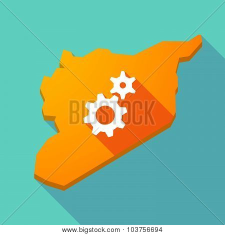 Long Shadow Syria Map With Two Gears
