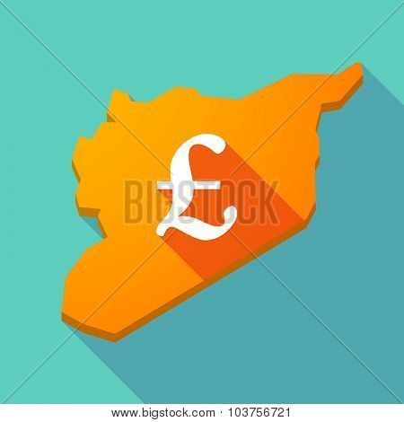 Long Shadow Syria Map With A Pound Sign