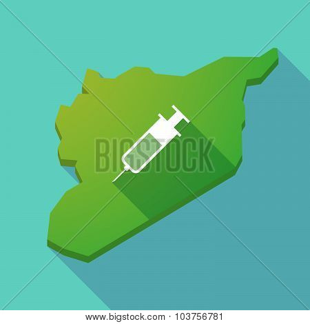 Long Shadow Syria Map With A Syringe