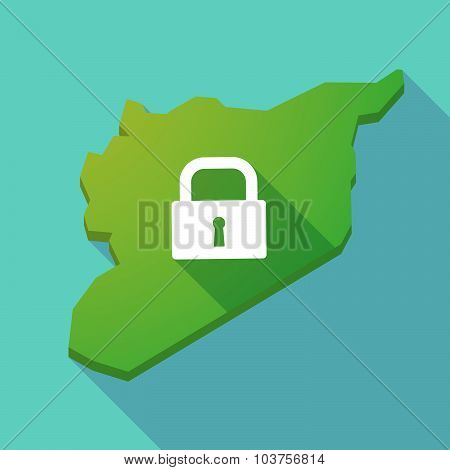 Long Shadow Syria Map With A Closed Lock Pad