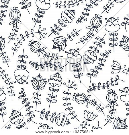 Hand Drawn Floral Seamless Vector Pattern.