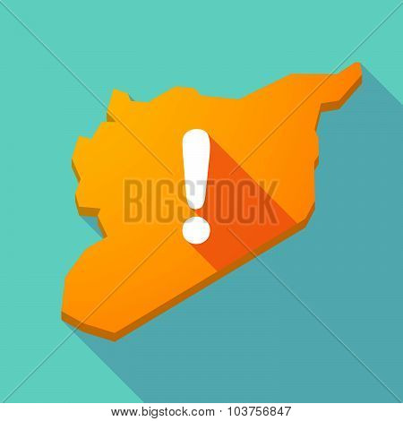 Long Shadow Syria Map With An Exclamarion Sign