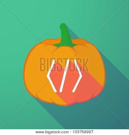 Long Shadow Halloween Pumpkin With A Code Sign