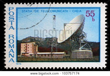 ROMANIA - CIRCA 1976: A stamp printed in Romania shows Cheia Telecommunications Station, circa 1976
