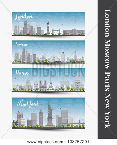 London, Moscow, Paris, New York. Set of four city skyline banners. Business travel and tourism concept with famous landmarks, historic and modern buildings.