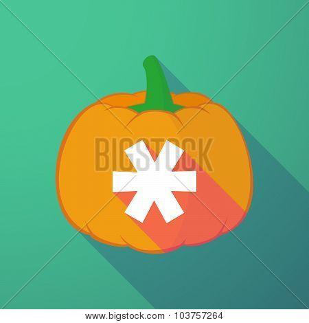 Long Shadow Halloween Pumpkin With An Asterisk
