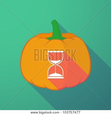 Long Shadow Halloween Pumpkin With A Sand Clock