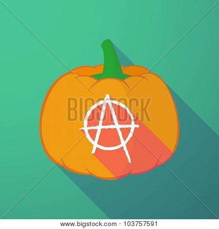 Long Shadow Halloween Pumpkin With An Anarchy Sign