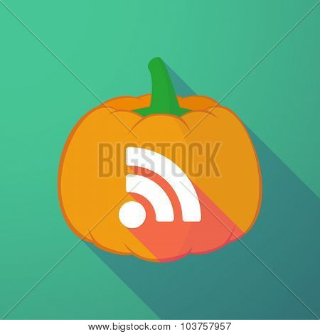 Long Shadow Halloween Pumpkin With An Rss Sign