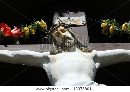 ZAGORJE, CROATIA - SEPTEMBER 24: Roadside Crucifix in Zagorje region, Croatia on September 24, 2013.