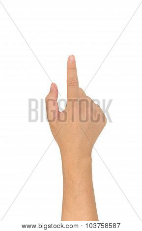 Image Of Male Hand Use Forefinger Touching Screen .