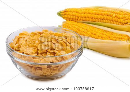 Corn flakes with milk in a plate