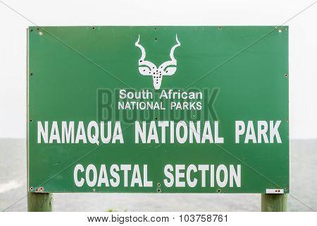 Sign At The Namaqua National Park Coastal Section
